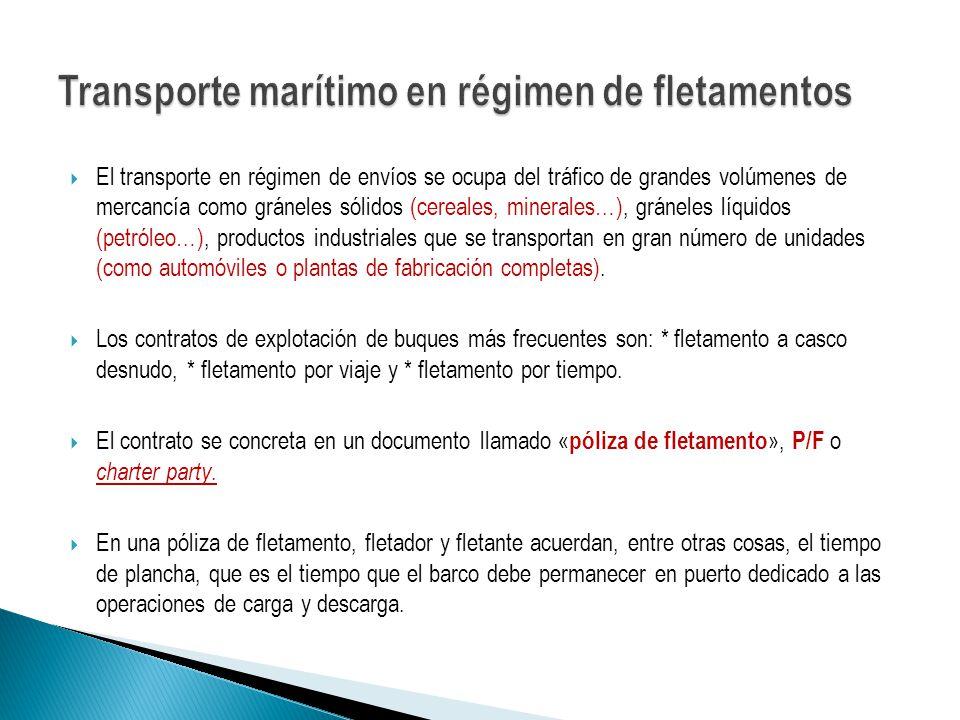El transporte en régimen de envíos se ocupa del tráfico de grandes volúmenes de mercancía como gráneles sólidos (cereales, minerales…), gráneles líqui