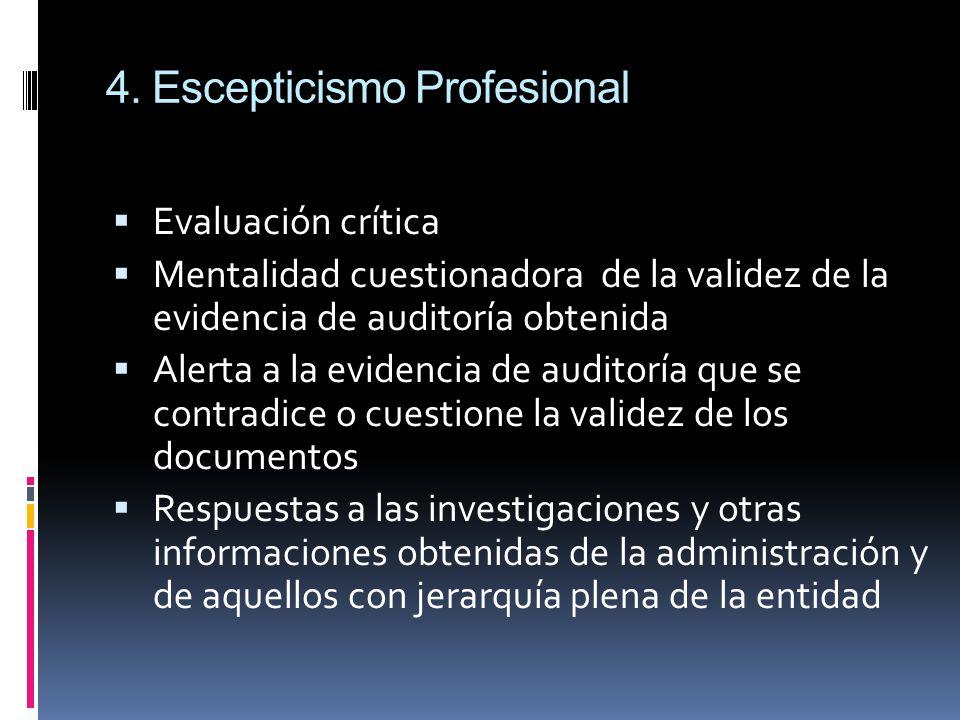 4. Escepticismo Profesional Evaluación crítica Mentalidad cuestionadora de la validez de la evidencia de auditoría obtenida Alerta a la evidencia de a