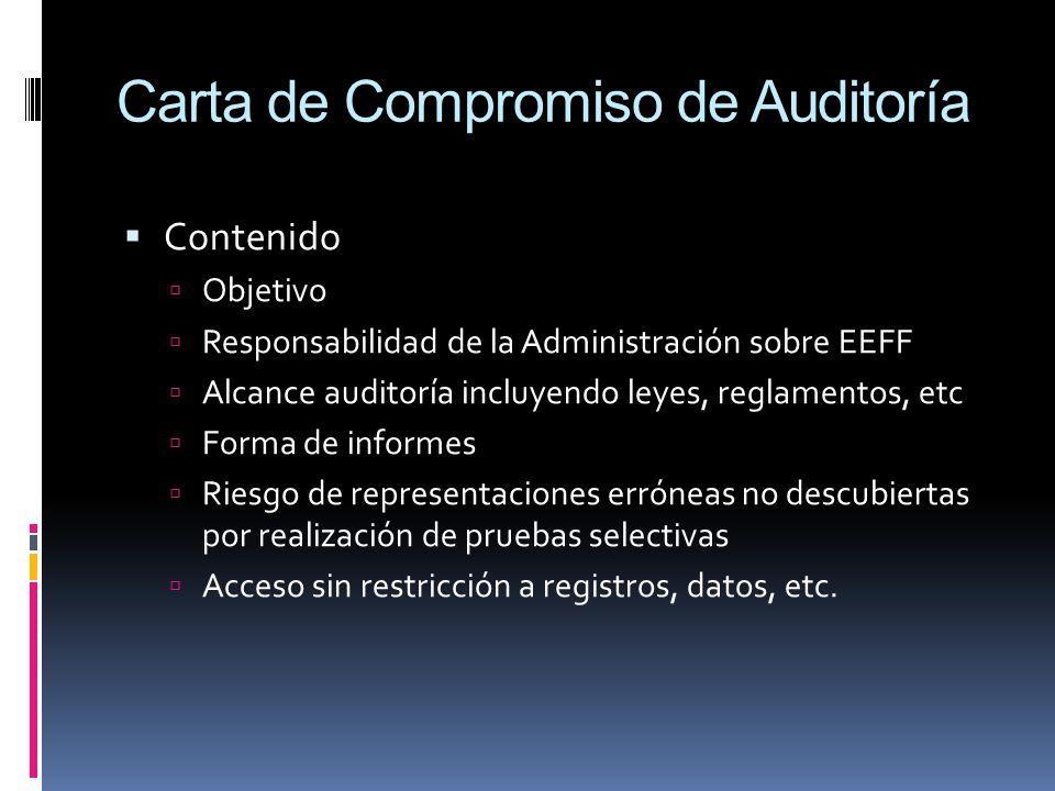 Carta de Compromiso de Auditoría Contenido Objetivo Responsabilidad de la Administración sobre EEFF Alcance auditoría incluyendo leyes, reglamentos, e