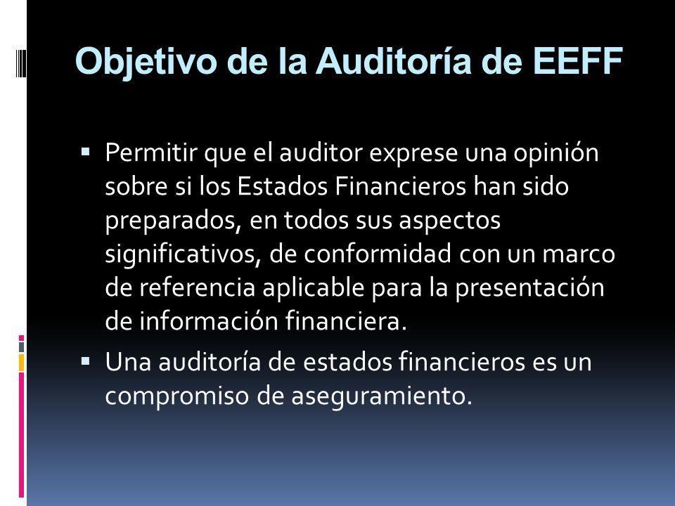 Objetivo de la Auditoría de EEFF Permitir que el auditor exprese una opinión sobre si los Estados Financieros han sido preparados, en todos sus aspect