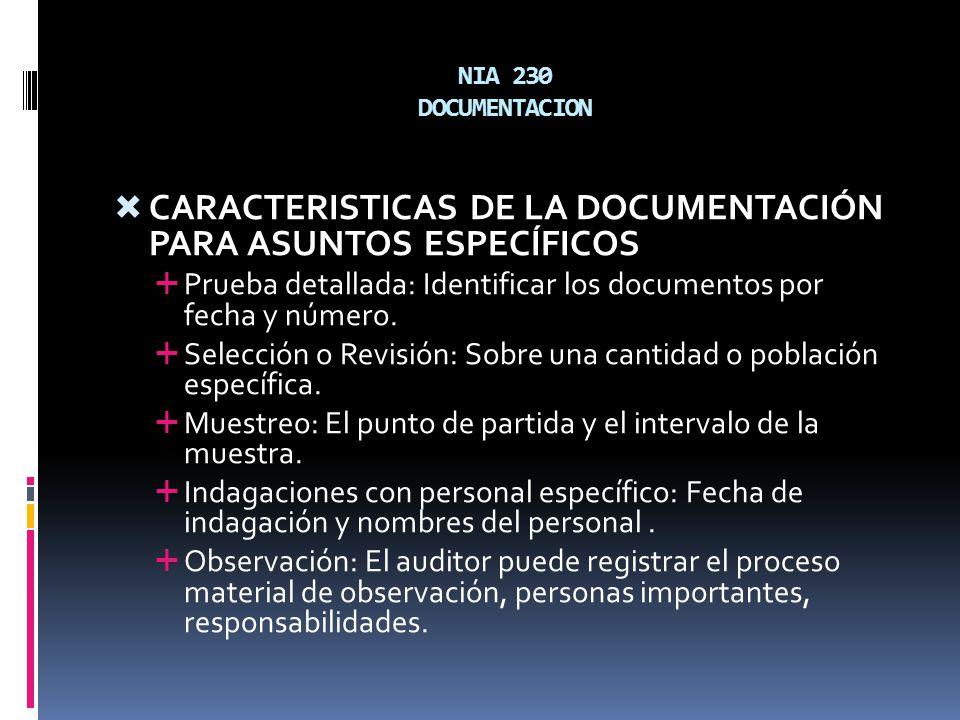 NIA 230 DOCUMENTACION CARACTERISTICAS DE LA DOCUMENTACIÓN PARA ASUNTOS ESPECÍFICOS Prueba detallada: Identificar los documentos por fecha y número. Se