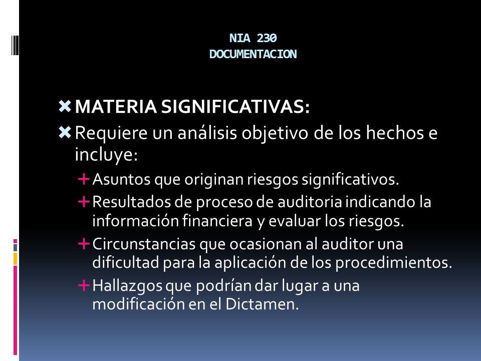 NIA 230 DOCUMENTACION MATERIA SIGNIFICATIVAS: Requiere un análisis objetivo de los hechos e incluye: Asuntos que originan riesgos significativos. Resu