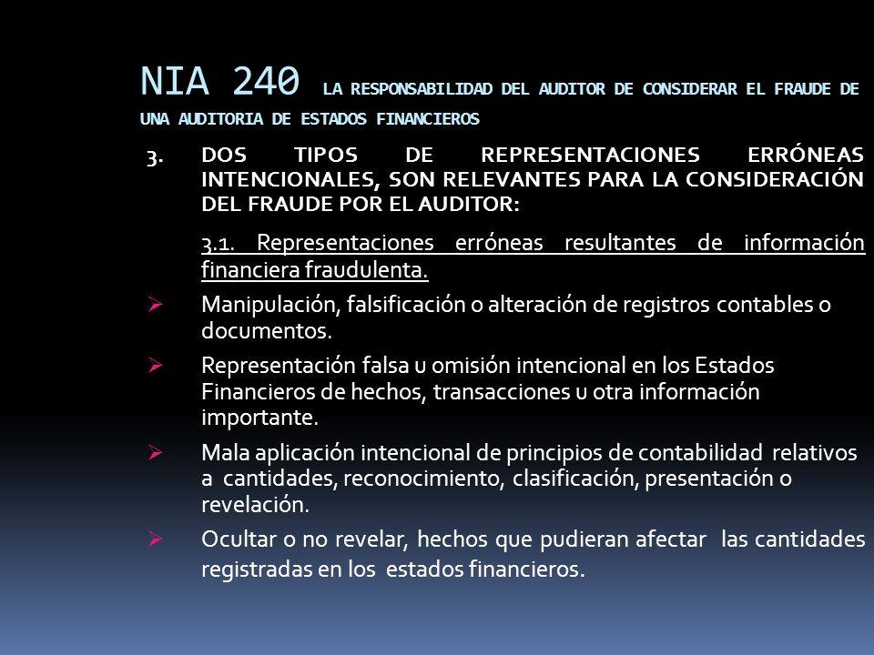 NIA 240 LA RESPONSABILIDAD DEL AUDITOR DE CONSIDERAR EL FRAUDE DE UNA AUDITORIA DE ESTADOS FINANCIEROS 3.DOS TIPOS DE REPRESENTACIONES ERRÓNEAS INTENC
