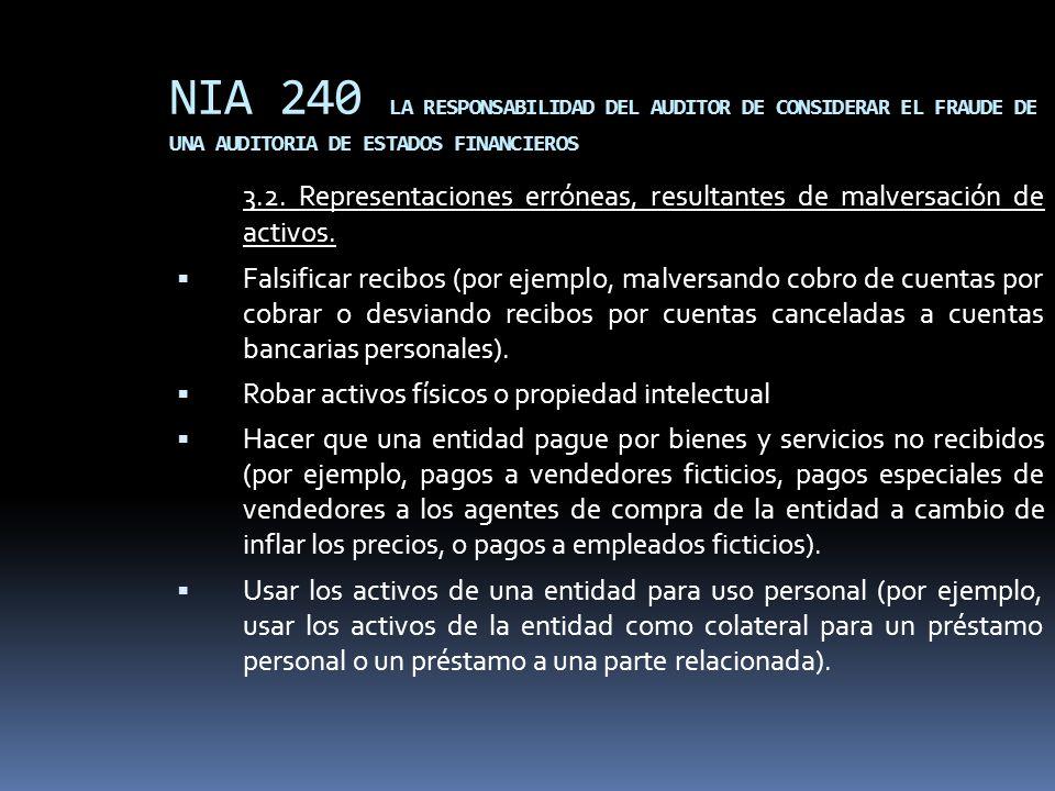 NIA 240 LA RESPONSABILIDAD DEL AUDITOR DE CONSIDERAR EL FRAUDE DE UNA AUDITORIA DE ESTADOS FINANCIEROS 3.2. Representaciones erróneas, resultantes de