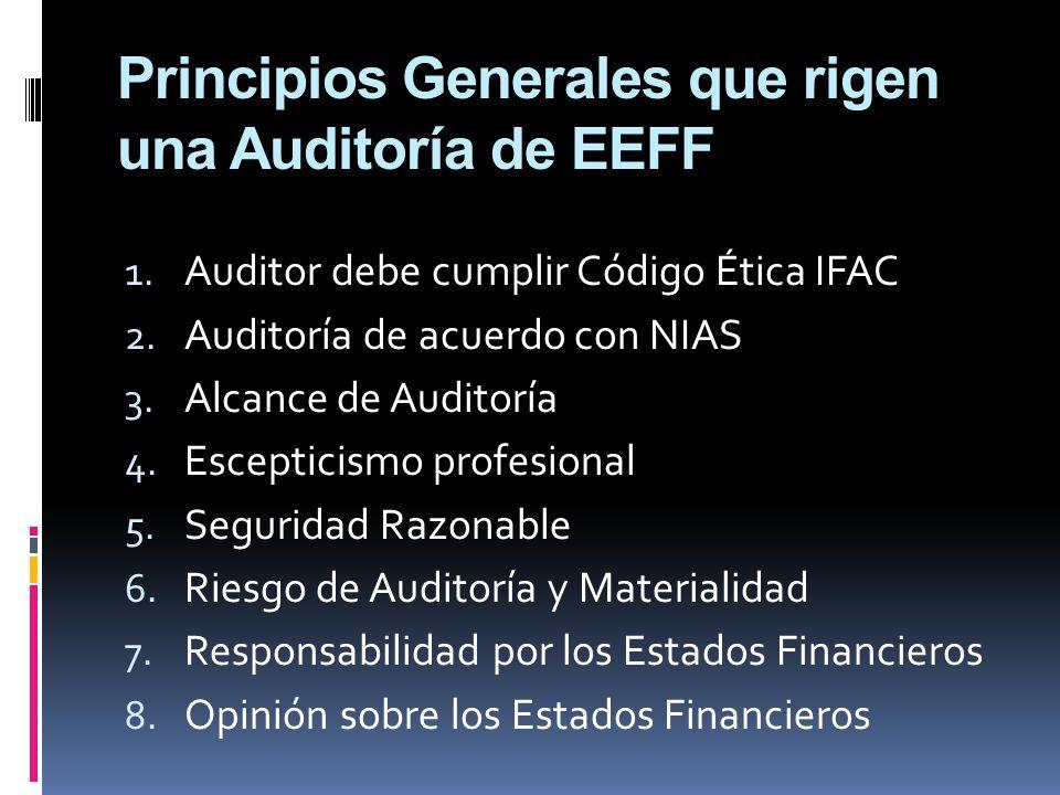 Principios Generales que rigen una Auditoría de EEFF 1. Auditor debe cumplir Código Ética IFAC 2. Auditoría de acuerdo con NIAS 3. Alcance de Auditorí
