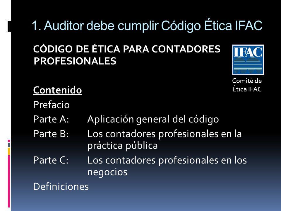 1. Auditor debe cumplir Código Ética IFAC CÓDIGO DE ÉTICA PARA CONTADORES PROFESIONALES Contenido Prefacio Parte A: Aplicación general del código Part