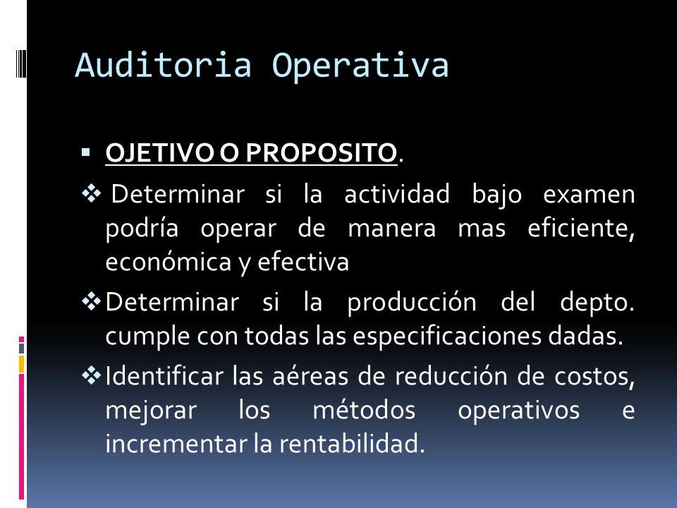 Auditoria Operativa OJETIVO O PROPOSITO. Determinar si la actividad bajo examen podría operar de manera mas eficiente, económica y efectiva Determinar