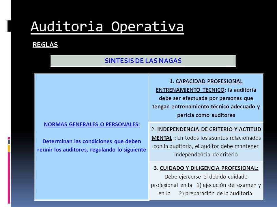 Auditoria Operativa REGLAS NORMAS GENERALES O PERSONALES: Determinan las condiciones que deben reunir los auditores, regulando lo siguiente 1. CAPACID