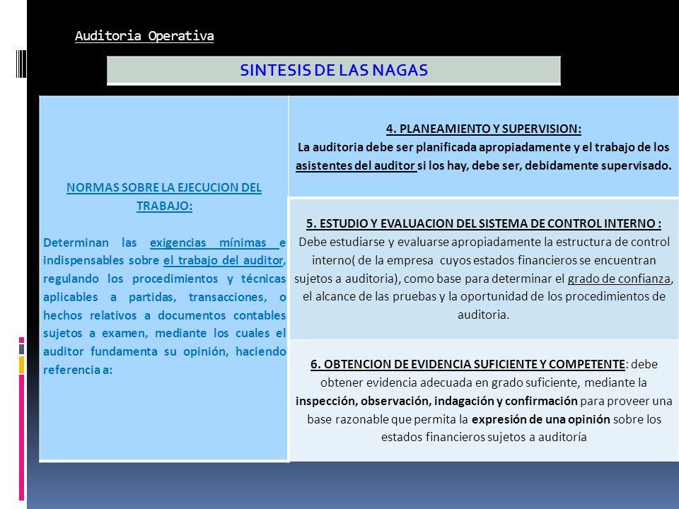 Auditoria Operativa NORMAS SOBRE LA EJECUCION DEL TRABAJO: Determinan las exigencias mínimas e indispensables sobre el trabajo del auditor, regulando
