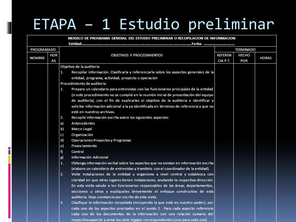 ETAPA – 1 Estudio preliminar MODELO DE PROGRAMA GENERAL DEL ESTUDIO PRELIMINAR O RECOPILACION DE INFORMACION Entidad…………………………………………………………………………………………