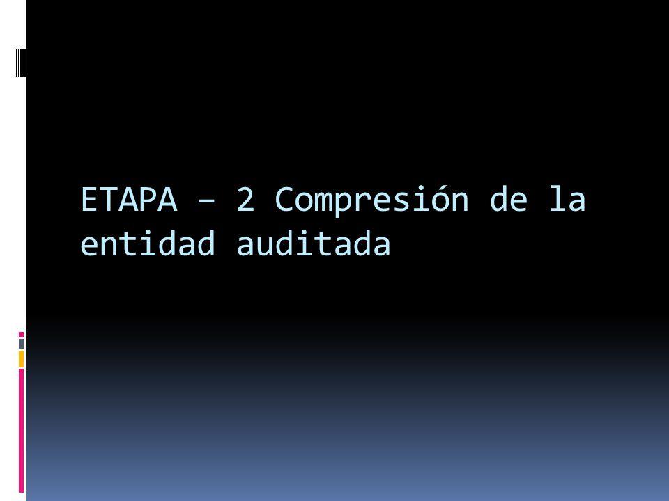 ETAPA – 2 Compresión de la entidad auditada
