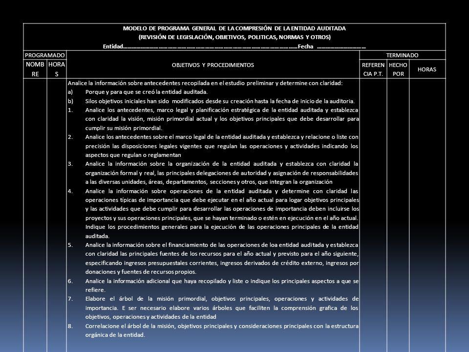 MODELO DE PROGRAMA GENERAL DE LA COMPRESIÓN DE LA ENTIDAD AUDITADA (REVISIÓN DE LEGISLACIÓN, OBJETIVOS, POLITICAS, NORMAS Y OTROS) Entidad………………………………