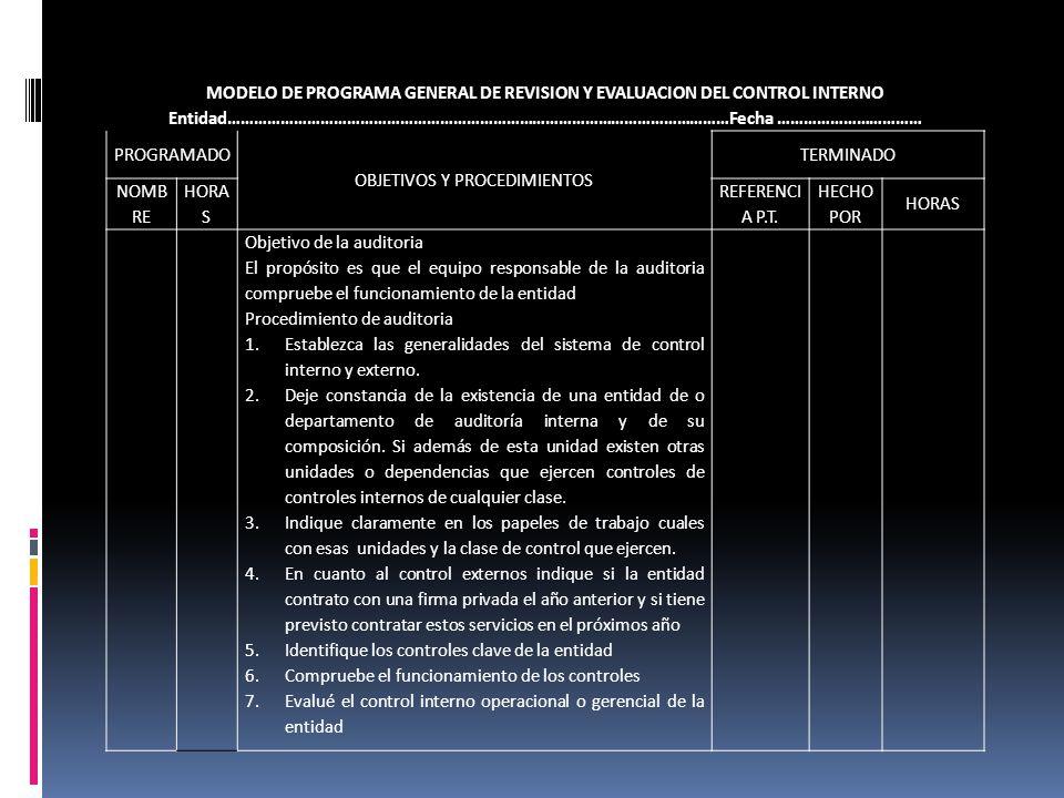 MODELO DE PROGRAMA GENERAL DE REVISION Y EVALUACION DEL CONTROL INTERNO Entidad……………………………………………………………………………………………………Fecha …………………………… PROGRAMADO OBJE