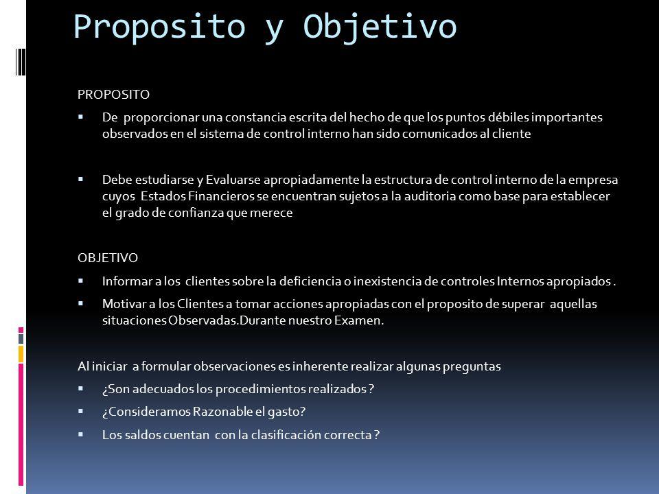 Proposito y Objetivo PROPOSITO De proporcionar una constancia escrita del hecho de que los puntos débiles importantes observados en el sistema de cont
