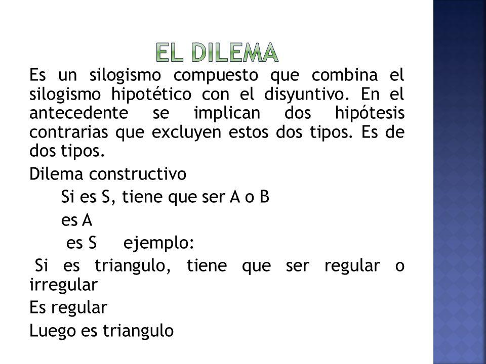 Es un silogismo compuesto que combina el silogismo hipotético con el disyuntivo. En el antecedente se implican dos hipótesis contrarias que excluyen e