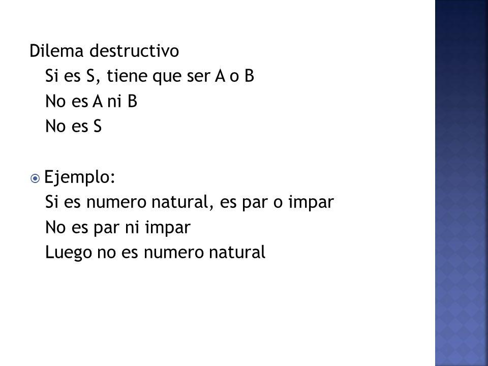 Dilema destructivo Si es S, tiene que ser A o B No es A ni B No es S Ejemplo: Si es numero natural, es par o impar No es par ni impar Luego no es nume