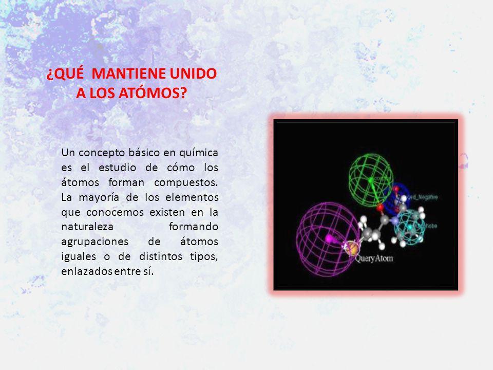 ¿QUÉ MANTIENE UNIDO A LOS ATÓMOS? Un concepto básico en química es el estudio de cómo los átomos forman compuestos. La mayoría de los elementos que co