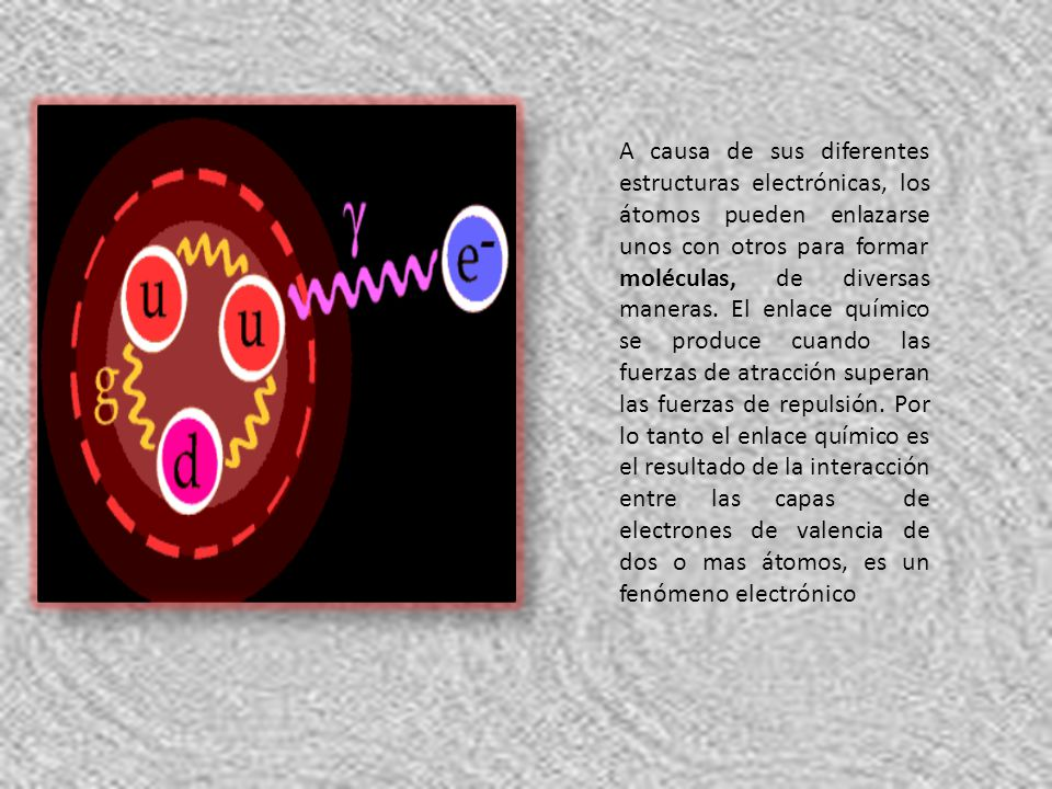 A causa de sus diferentes estructuras electrónicas, los átomos pueden enlazarse unos con otros para formar moléculas, de diversas maneras. El enlace q