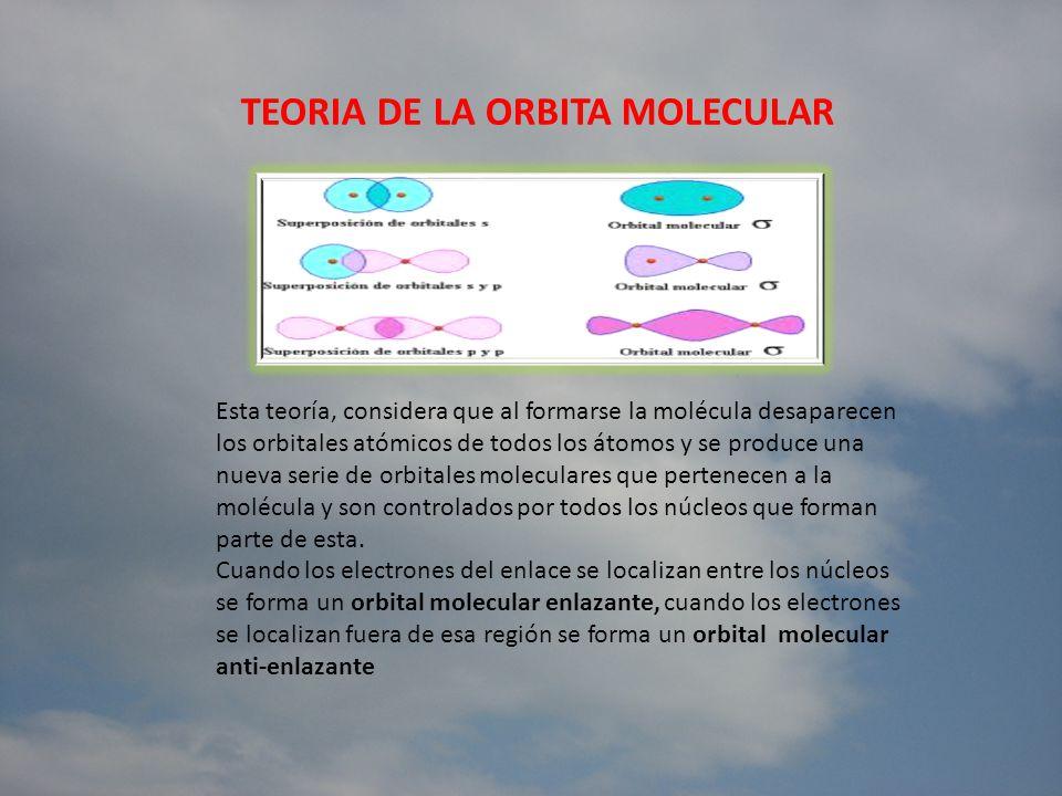 TEORIA DE LA ORBITA MOLECULAR Esta teoría, considera que al formarse la molécula desaparecen los orbitales atómicos de todos los átomos y se produce u