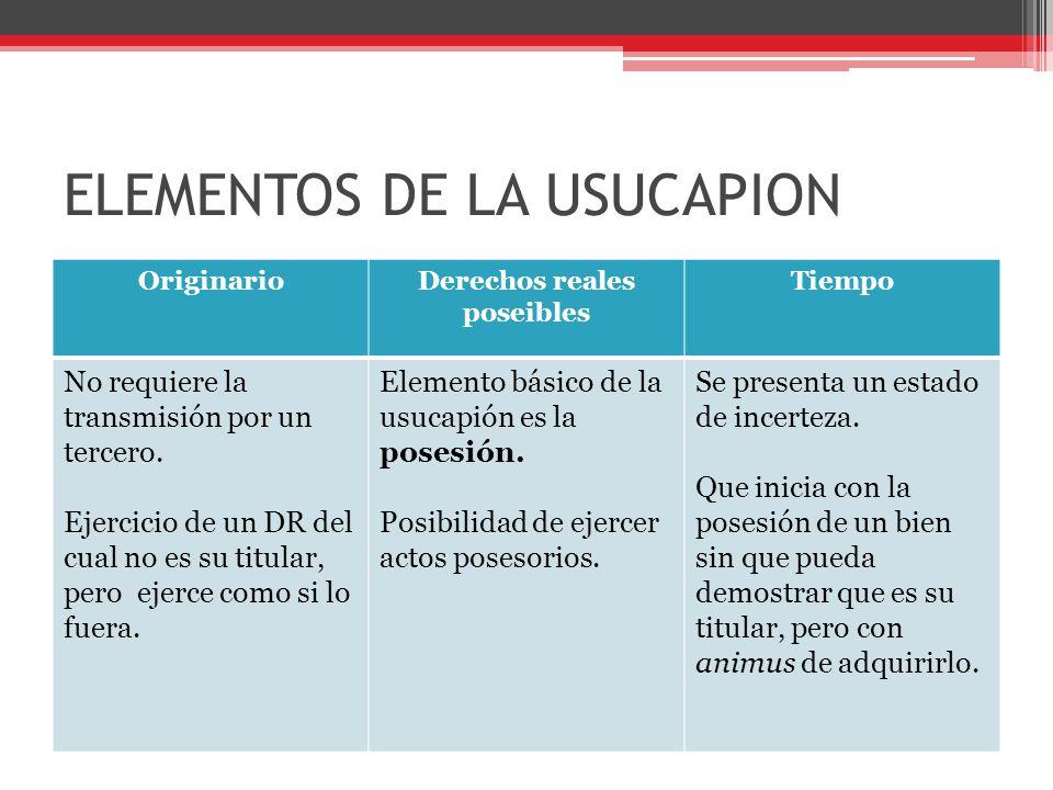EFECTO DE LA USUCAPION adquisición ipso iure del derecho poseído El poseedor se convierte en legítimo titular del derecho.