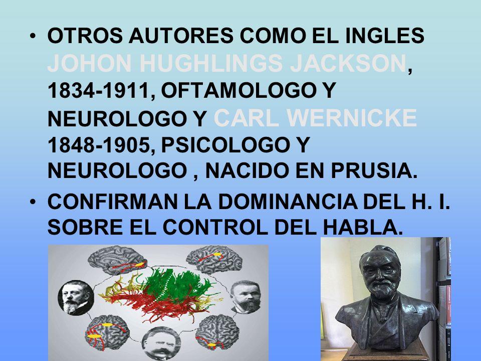 OTROS AUTORES COMO EL INGLES JOHON HUGHLINGS JACKSON, 1834-1911, OFTAMOLOGO Y NEUROLOGO Y CARL WERNICKE 1848-1905, PSICOLOGO Y NEUROLOGO, NACIDO EN PRUSIA.
