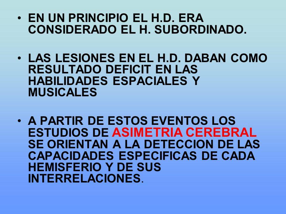 EN UN PRINCIPIO EL H.D. ERA CONSIDERADO EL H. SUBORDINADO. LAS LESIONES EN EL H.D. DABAN COMO RESULTADO DEFICIT EN LAS HABILIDADES ESPACIALES Y MUSICA