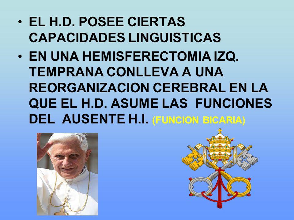 EL H.D. POSEE CIERTAS CAPACIDADES LINGUISTICAS EN UNA HEMISFERECTOMIA IZQ. TEMPRANA CONLLEVA A UNA REORGANIZACION CEREBRAL EN LA QUE EL H.D. ASUME LAS