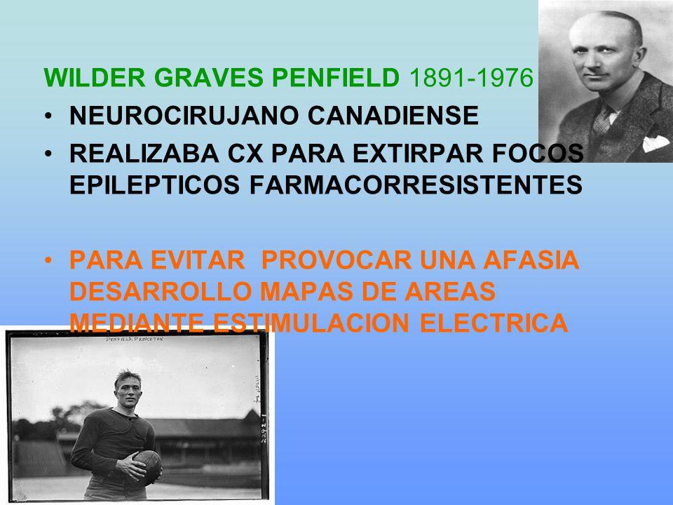 WILDER GRAVES PENFIELD 1891-1976 NEUROCIRUJANO CANADIENSE REALIZABA CX PARA EXTIRPAR FOCOS EPILEPTICOS FARMACORRESISTENTES PARA EVITAR PROVOCAR UNA AFASIA DESARROLLO MAPAS DE AREAS MEDIANTE ESTIMULACION ELECTRICA