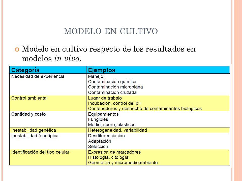 MODELO EN CULTIVO Modelo en cultivo respecto de los resultados en modelos in vivo.