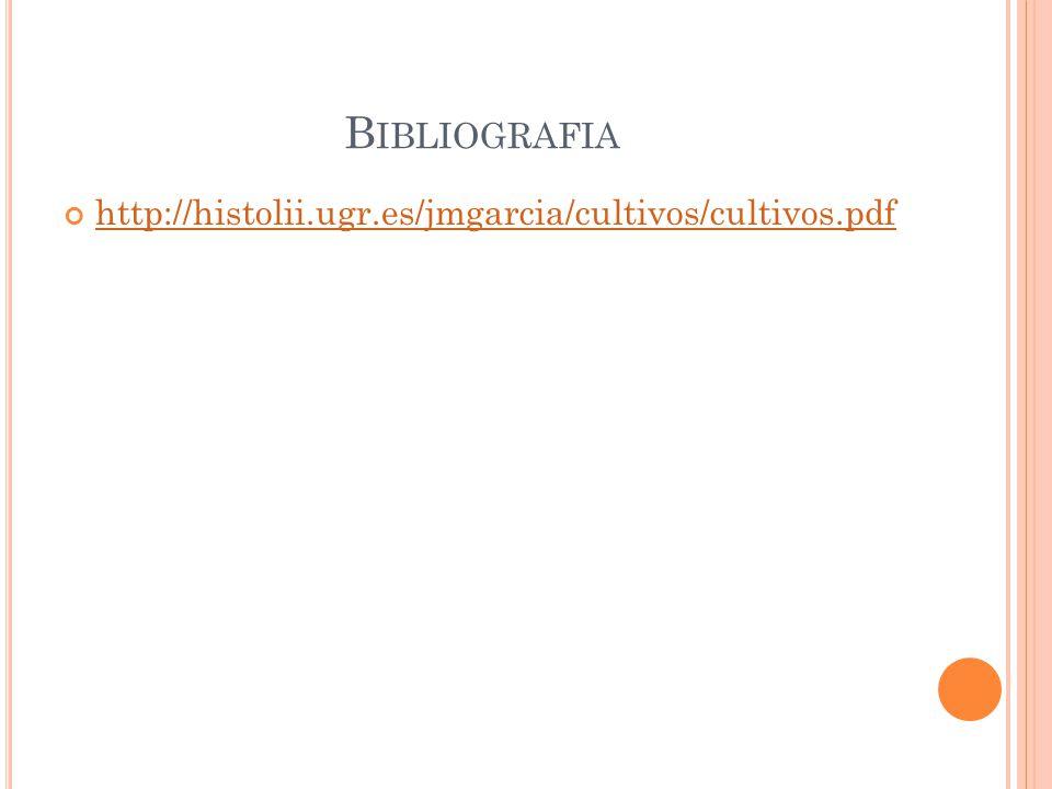 B IBLIOGRAFIA http://histolii.ugr.es/jmgarcia/cultivos/cultivos.pdf