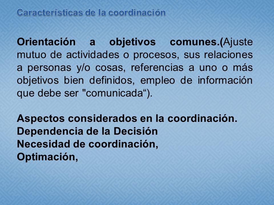 Orientación a objetivos comunes.(Ajuste mutuo de actividades o procesos, sus relaciones a personas y/o cosas, referencias a uno o más objetivos bien definidos, empleo de información que debe ser comunicada).