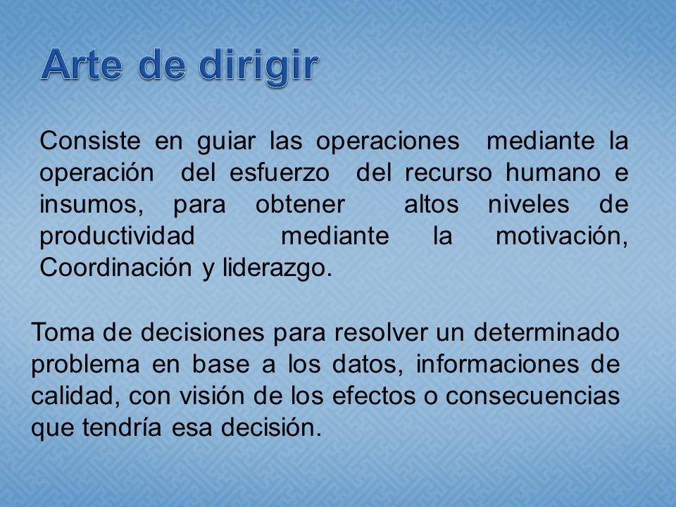 Consiste en guiar las operaciones mediante la operación del esfuerzo del recurso humano e insumos, para obtener altos niveles de productividad mediante la motivación, Coordinación y liderazgo.
