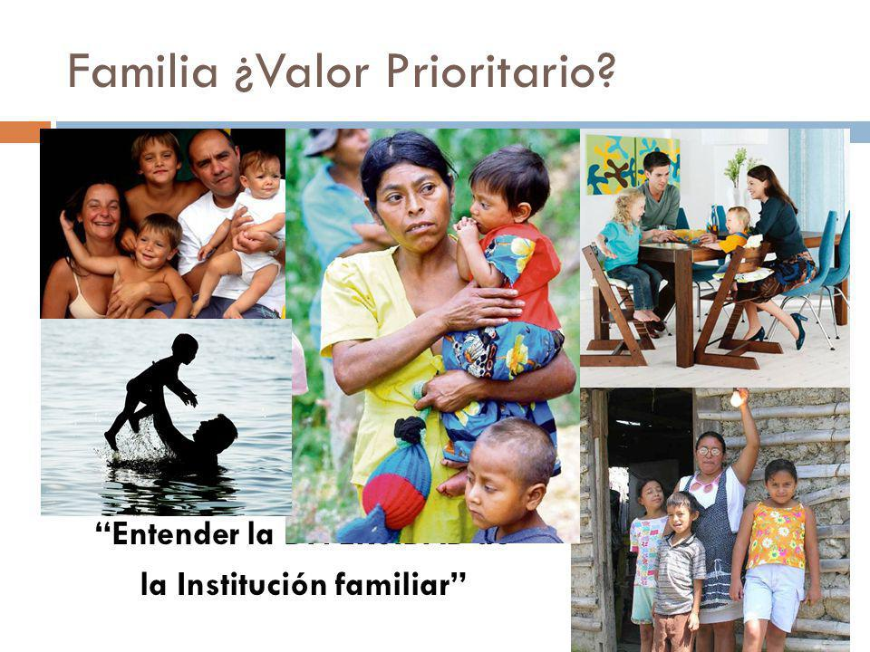 Familia ¿Valor Prioritario? Entender la DIVERSIDAD de la Institución familiar