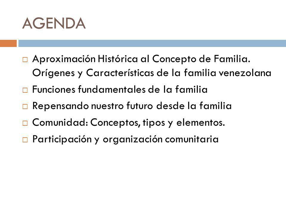 AGENDA Aproximación Histórica al Concepto de Familia. Orígenes y Características de la familia venezolana Funciones fundamentales de la familia Repens