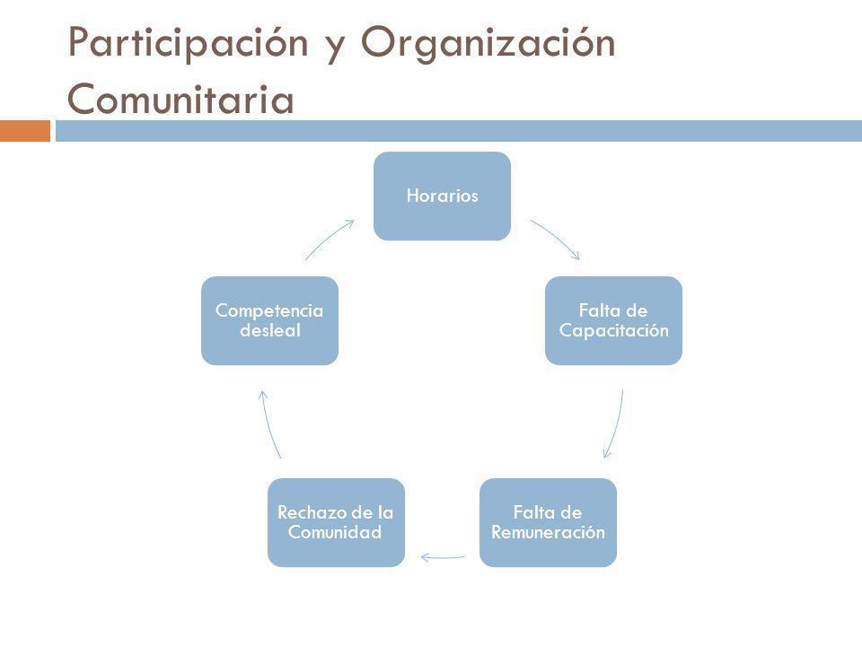 Participación y Organización Comunitaria Horarios Falta de Capacitación Falta de Remuneración Rechazo de la Comunidad Competencia desleal
