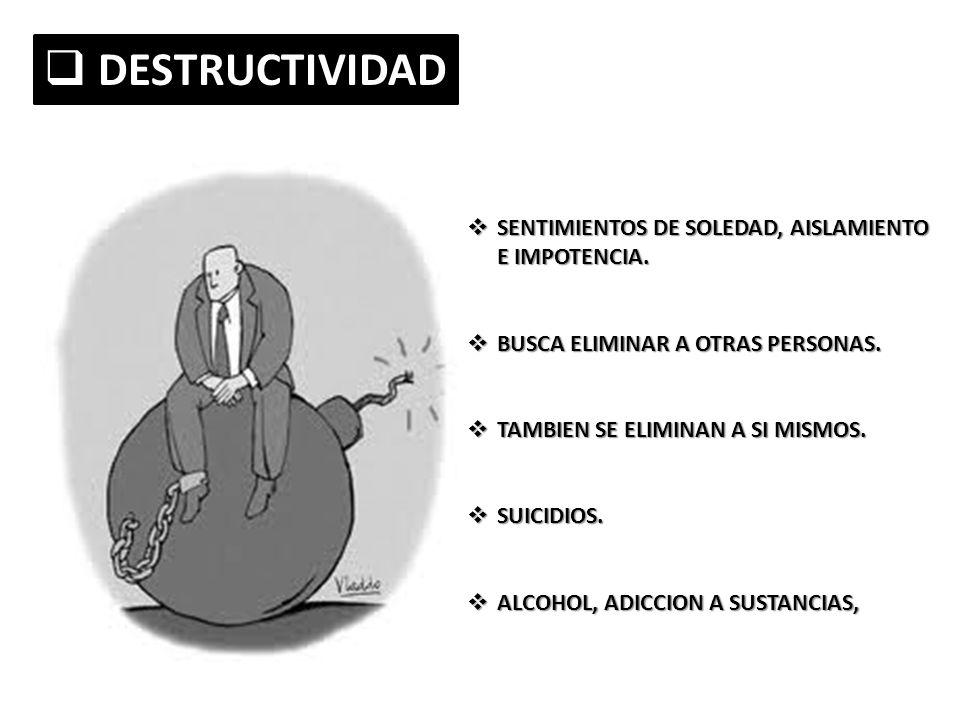 DESTRUCTIVIDAD DESTRUCTIVIDAD SENTIMIENTOS DE SOLEDAD, AISLAMIENTO E IMPOTENCIA. SENTIMIENTOS DE SOLEDAD, AISLAMIENTO E IMPOTENCIA. BUSCA ELIMINAR A O