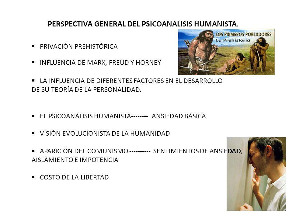 PERSPECTIVA GENERAL DEL PSICOANALISIS HUMANISTA. PRIVACIÓN PREHISTÓRICA INFLUENCIA DE MARX, FREUD Y HORNEY LA INFLUENCIA DE DIFERENTES FACTORES EN EL