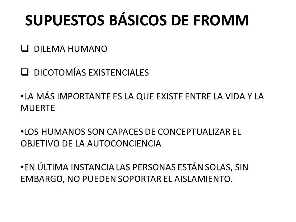 SUPUESTOS BÁSICOS DE FROMM DILEMA HUMANO DICOTOMÍAS EXISTENCIALES LA MÁS IMPORTANTE ES LA QUE EXISTE ENTRE LA VIDA Y LA MUERTE LOS HUMANOS SON CAPACES