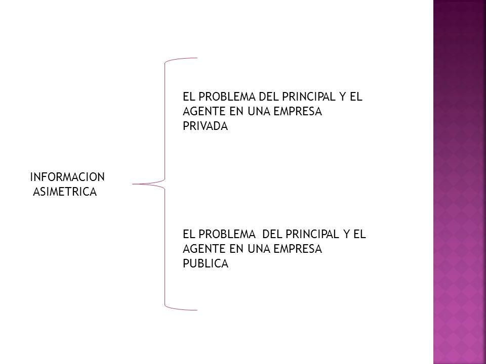 INFORMACION ASIMETRICA EL PROBLEMA DEL PRINCIPAL Y EL AGENTE EN UNA EMPRESA PRIVADA EL PROBLEMA DEL PRINCIPAL Y EL AGENTE EN UNA EMPRESA PUBLICA