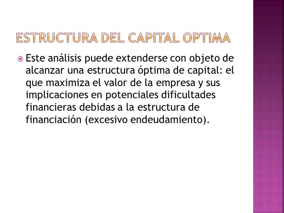 Este análisis puede extenderse con objeto de alcanzar una estructura óptima de capital: el que maximiza el valor de la empresa y sus implicaciones en potenciales dificultades financieras debidas a la estructura de financiación (excesivo endeudamiento).