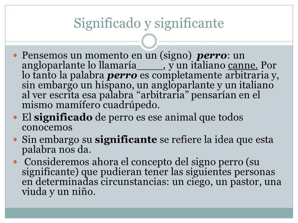 Significado y significante Pensemos un momento en un (signo) perro: un angloparlante lo llamaría____, y un italiano canne. Por lo tanto la palabra per
