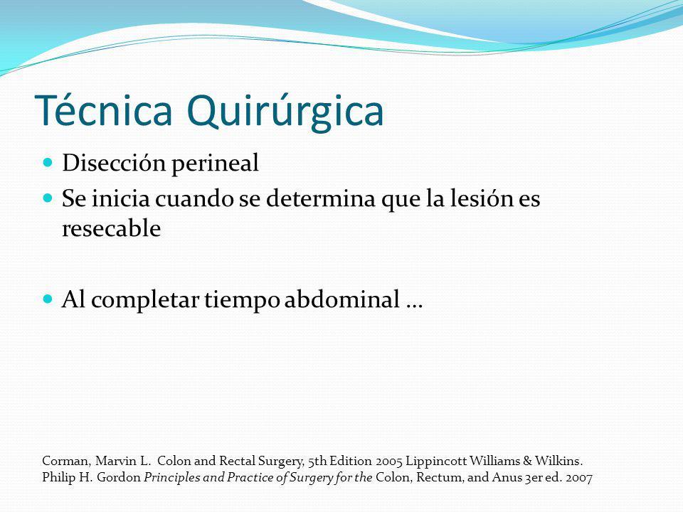 Técnica Quirúrgica Disección perineal Se inicia cuando se determina que la lesión es resecable Al completar tiempo abdominal … Corman, Marvin L. Colon