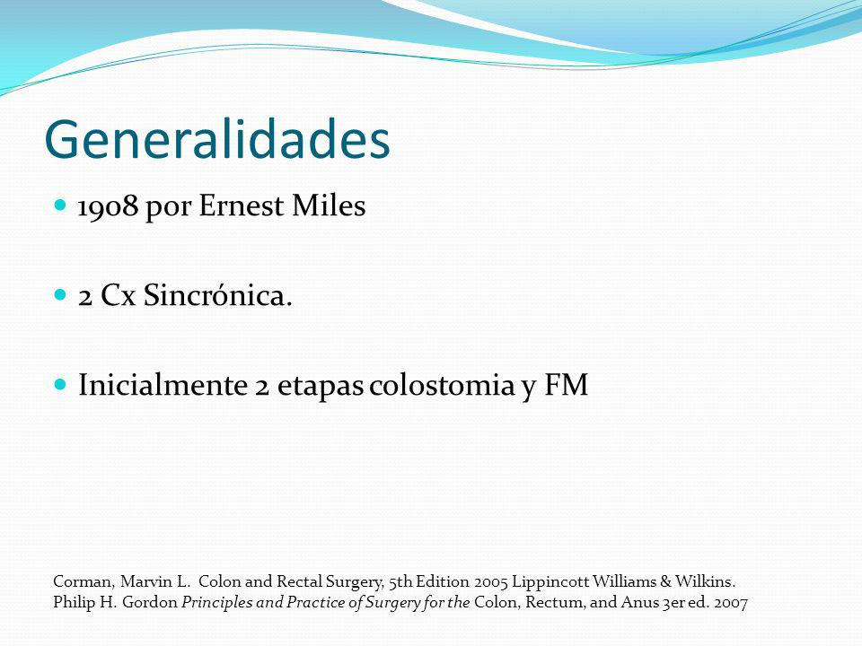 Generalidades 1908 por Ernest Miles 2 Cx Sincrónica. Inicialmente 2 etapas colostomia y FM Corman, Marvin L. Colon and Rectal Surgery, 5th Edition 200