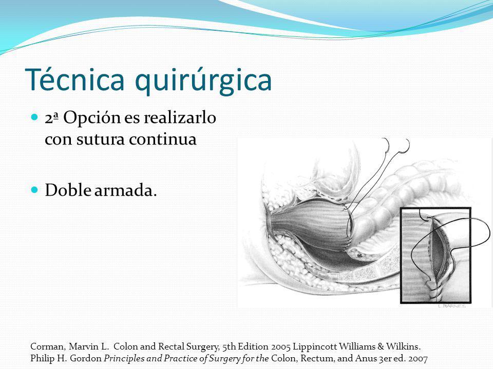 Técnica quirúrgica 2ª Opción es realizarlo con sutura continua Doble armada. Corman, Marvin L. Colon and Rectal Surgery, 5th Edition 2005 Lippincott W