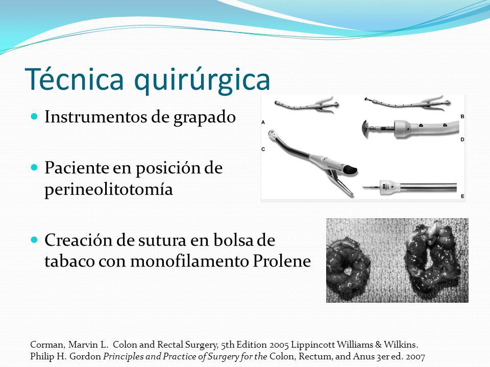 Técnica quirúrgica Instrumentos de grapado Paciente en posición de perineolitotomía Creación de sutura en bolsa de tabaco con monofilamento Prolene Co
