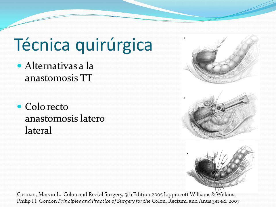 Técnica quirúrgica Alternativas a la anastomosis TT Colo recto anastomosis latero lateral Corman, Marvin L. Colon and Rectal Surgery, 5th Edition 2005