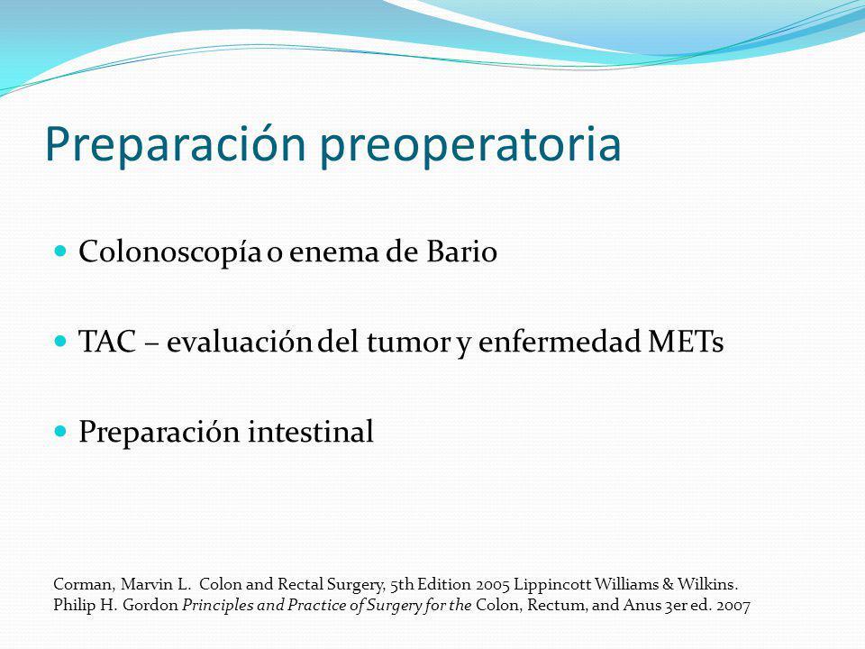 Preparación preoperatoria Colonoscopía o enema de Bario TAC – evaluación del tumor y enfermedad METs Preparación intestinal Corman, Marvin L. Colon an