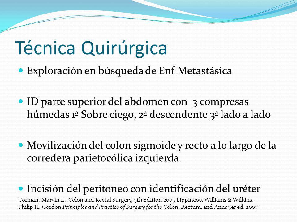 Técnica Quirúrgica Exploración en búsqueda de Enf Metastásica ID parte superior del abdomen con 3 compresas húmedas 1ª Sobre ciego, 2ª descendente 3ª