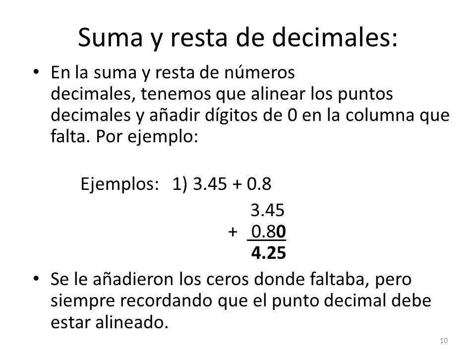 Suma y resta de decimales: En la suma y resta de números decimales, tenemos que alinear los puntos decimales y añadir dígitos de 0 en la columna que falta.