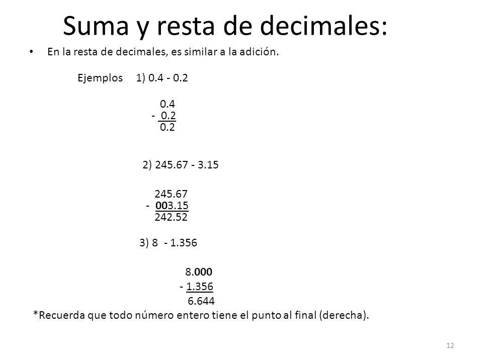 Suma y resta de decimales: En la resta de decimales, es similar a la adición. Ejemplos 1) 0.4 - 0.2 0.4 - 0.2 0.2 2) 245.67 - 3.15 245.67 - 003.15 242